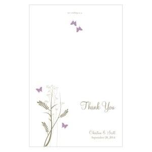 Romantic Butterfly Thank You Card Lavender