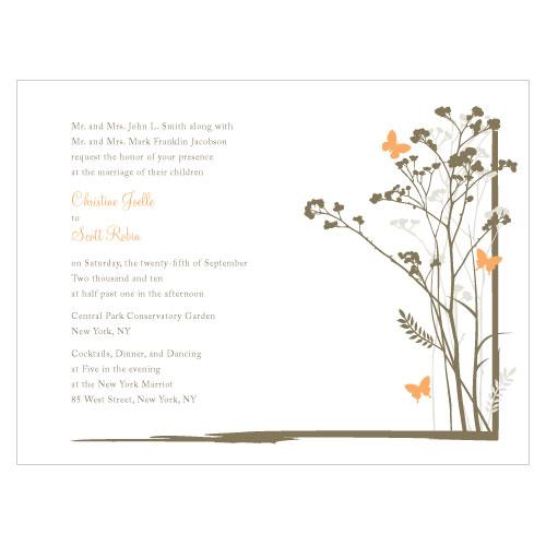 Romantic Butterfly Invitation Peach