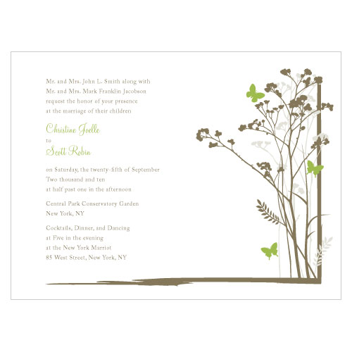 Romantic Butterfly Invitation Grass Green