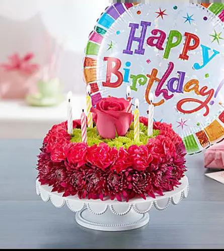 Birthday Wishes Flower Cake Purple Florist Hagerstown Md