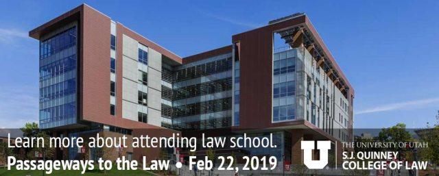 SJ Quinney College of Law Passageways banner image of school exterior.