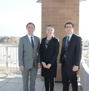 Law students Jon Williams, Sara Parker and Jeremy Brodis.