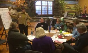 Participants playing a NECAP role-play simulation at Great Bay National Estuarine Research Reserve near Dover, New Hampshire.