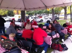 Alumni enjoy the tailgate party before the Utah-Colorado State football game