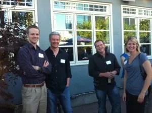 1L Blake Steel, attorney Tim Considine, 1L Mark Barlow, and 3L Arminda Jurgenson