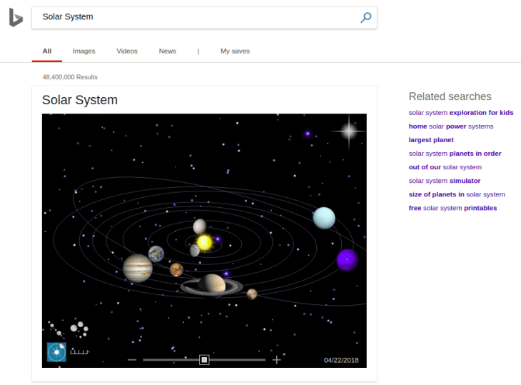 Solar System Search on Bing
