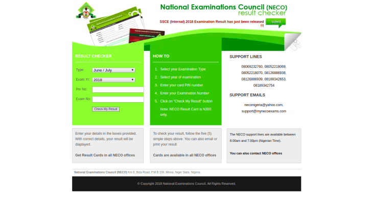 A Screenshot of the NECO Result Checker 2018 website