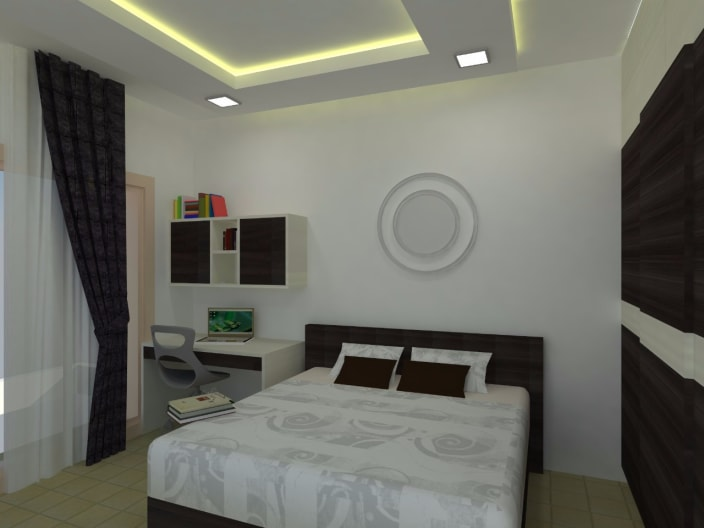 Bedroom With False Ceiling Lights And Marble Flooring By Richa Jindal