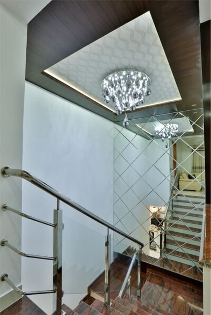 Staircase With Wooden Steps By Anil Patil | False Ceiling On Stairs | Residential | Pvc Panel Ceiling | Kitchen | Traditional | Living Room Hardiflex Ceiling