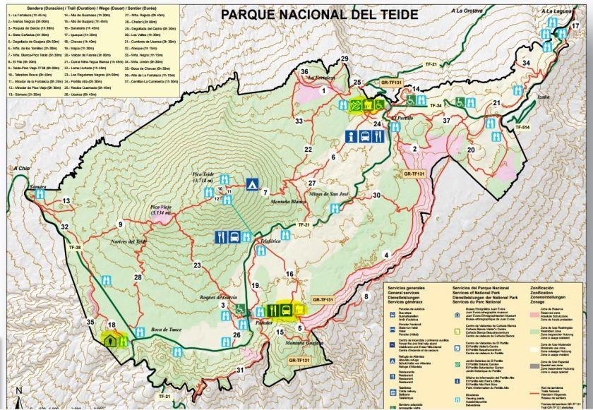 Cartina Parco Nazionale del Teide