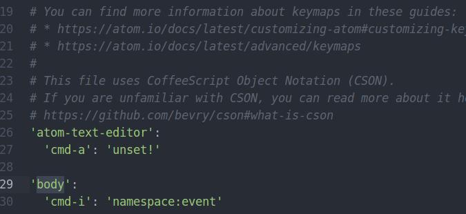 Atom editor keymaps