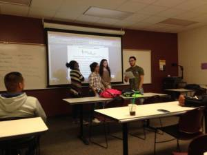 "Students on the last day of courses presenting their ""song"" for the End of Course Review (Remix) Activity."