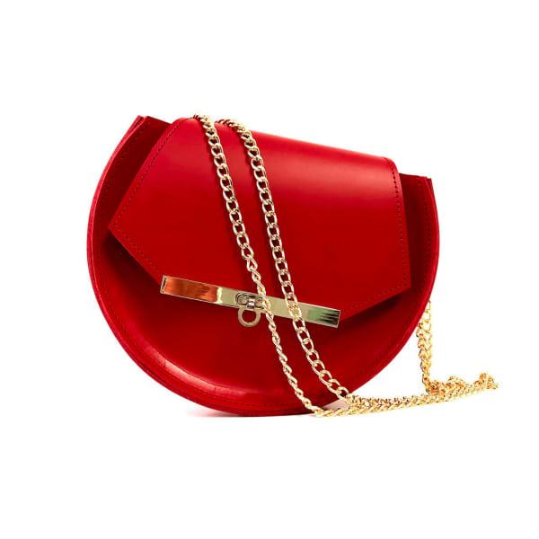 Loel Mini Military Bee Chain Bag Clutch In Rich Red