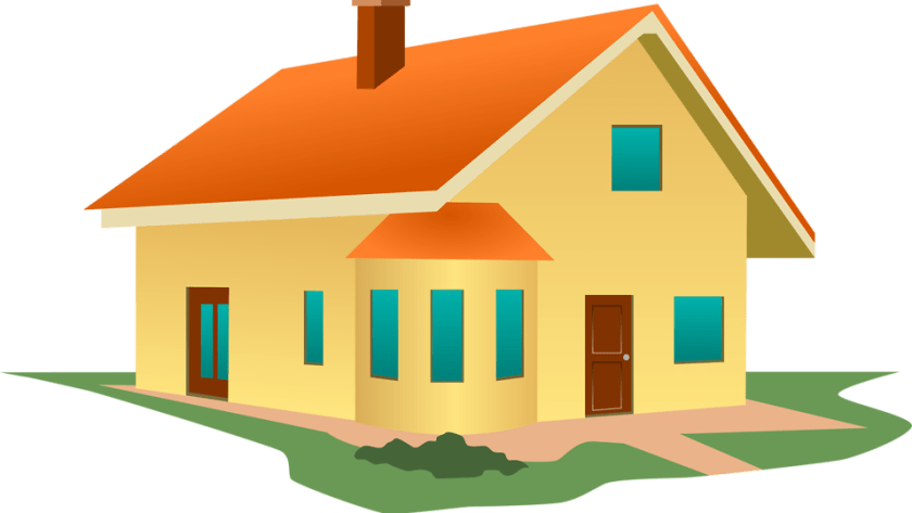 Illustration of a yellow house : Free Stock Photo