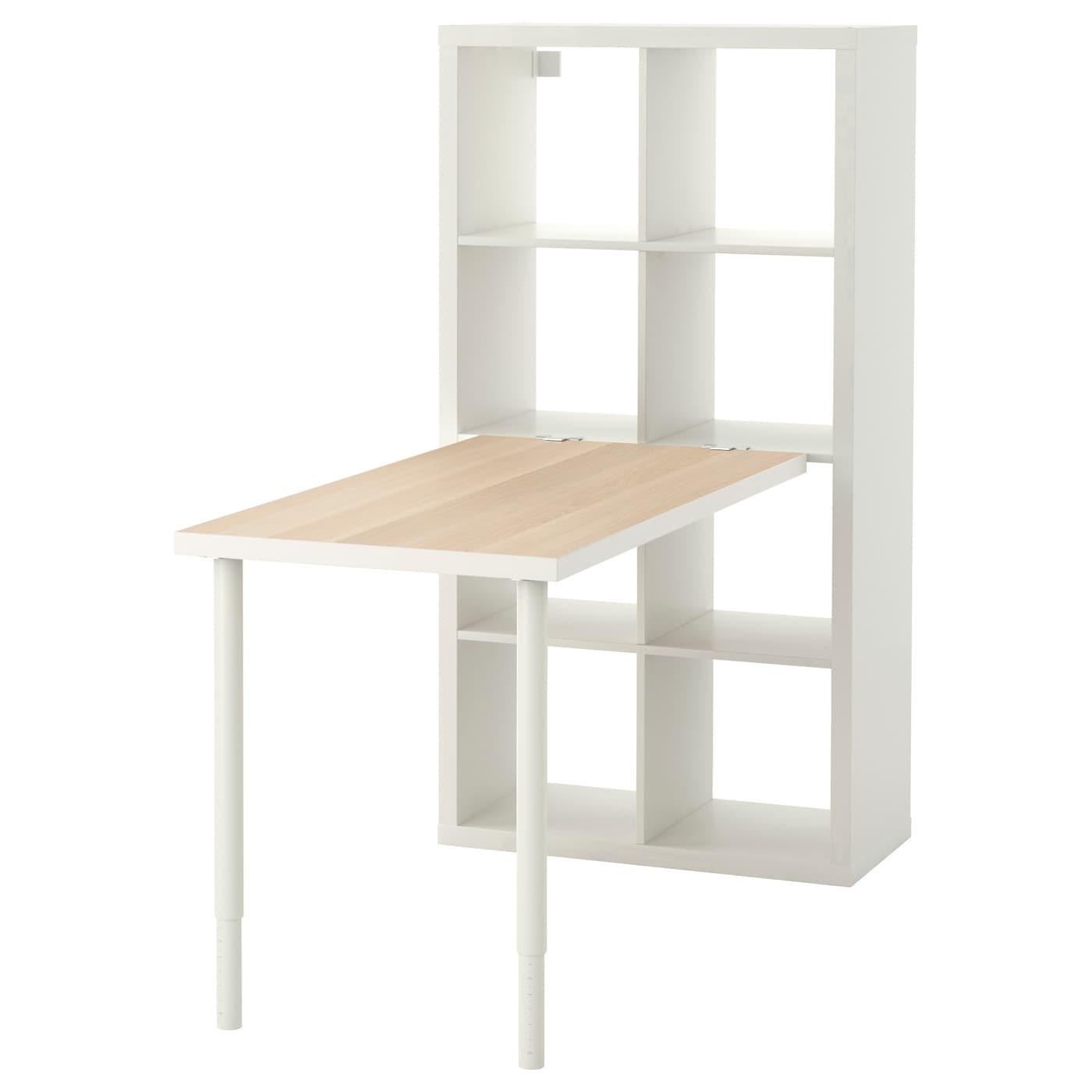 Kallax Composition De Bureau Effet Chene Teinte Blanc Blanc Ikeapedia