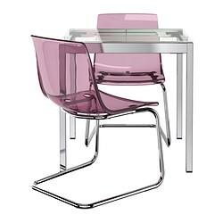 Glivarp Tobias Table Et 2 Chaises Transparent Chrome Mauve Ikeapedia