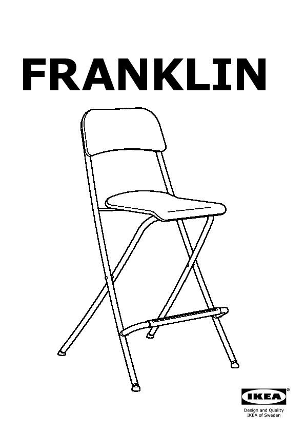 Franklin Tabouret Bar Pliant Dossier Blanc Gris Argent Ikeapedia