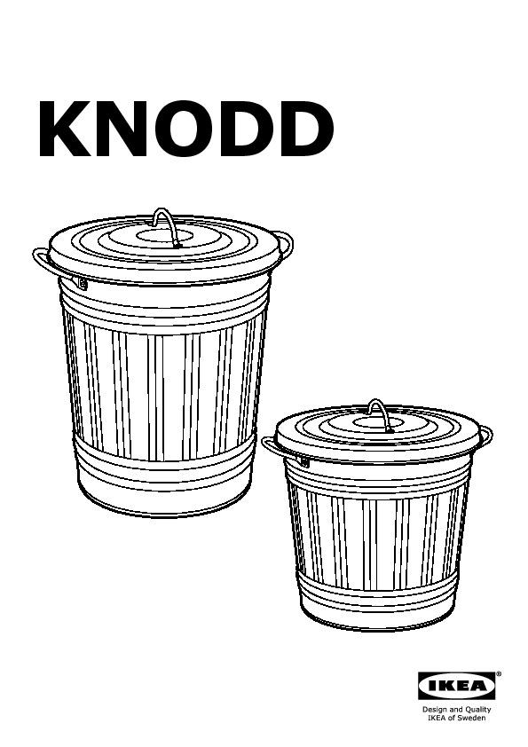 Knodd Bin With Lid Galvanised Ikeapedia