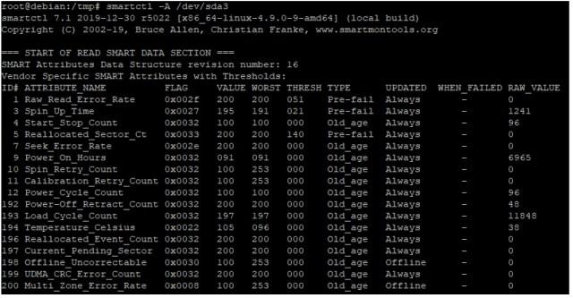 SSD S.M.A.R.T Sensors – Sample values