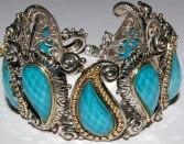 Wide turquoise doublet bracelet.