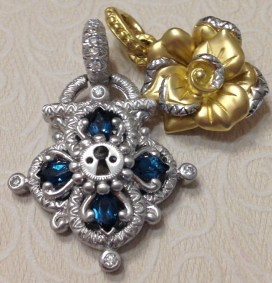 White gold lock with yellow gold rose