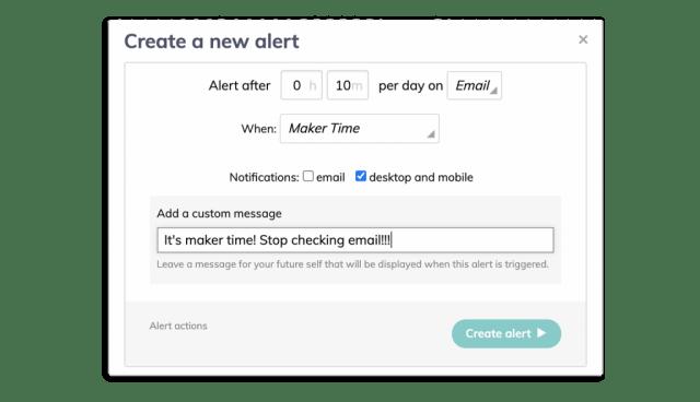 Create a maker time alert