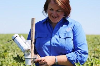 Dr Rose Brodrick with an Arducrop water sensor