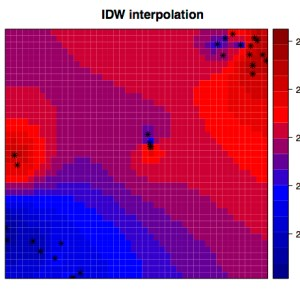 Inverse distance weighted interpolation of temperature across the mine site using our sensing nodes as anchor points