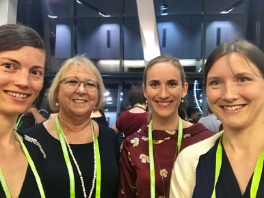 Jeda Palmer, Di Prestwidge, Cécile Godde, and Katharina Waha at the TropAg2017 conference dinner