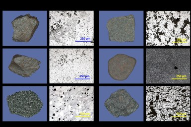 Macro and microscopic scales of dense and porous hematite