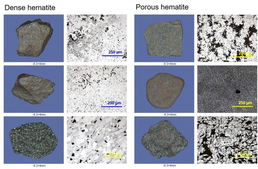 Dense hematite and porous hematite textures