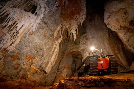 Tracked robot exploring cave