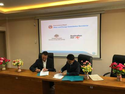 Representatives from DFAT and the Government of Nepal sign an MOU in November 2017