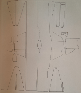 Measured drawing of the Kragelund gown from p. 125 of Woven Into The Earth.  Image shows front middle gore at the bottom left. back middle seamed gore is showed at the top left.  Left seamed gore is shown at top right and right seamed gore is shown at top left.