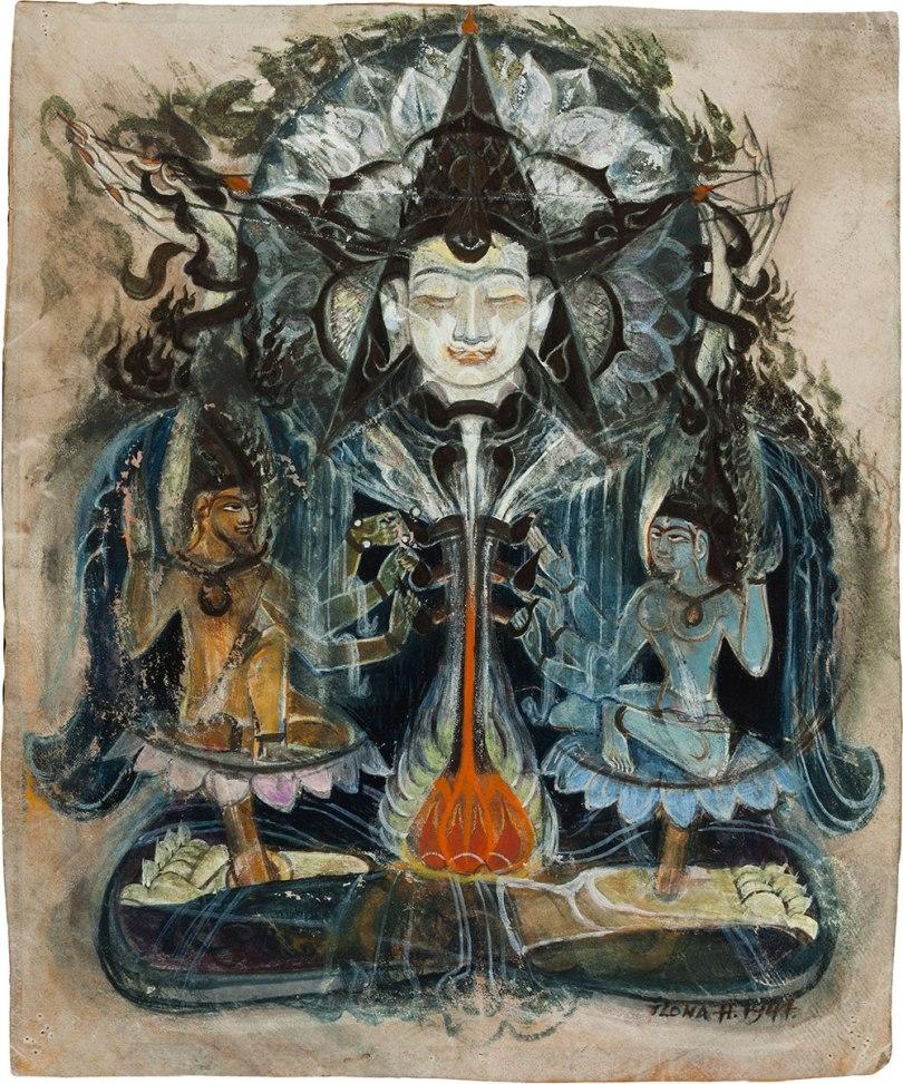 Ilona Harima, Buddha and Two Bodhisattvas, 1947 gouache, 24.5 x 20.5cm Finnish National Gallery / Ateneum Art Museum Photo: Finnish National Gallery / Hannu Pakarinen