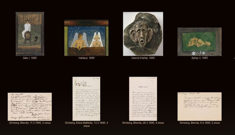 Screen capture of the Finnish National Gallery Archive Collections webpage Lähteillä with material related to artist Hugo Simberg