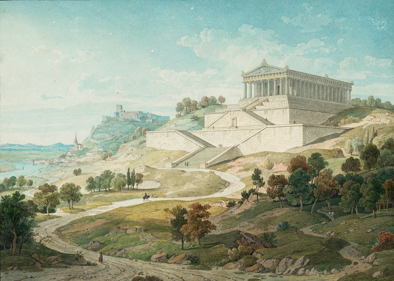 Leo von Klenze (1784–1864), View of the Walhalla Overlooking Donaustauf and Regensburg, 1830, watercolour and pencil on paper, 20.8cm x 29.2 cm Hamburger Kunsthalle Photo: © bpk / Hamburger Kunsthalle / Christoph Irrgang