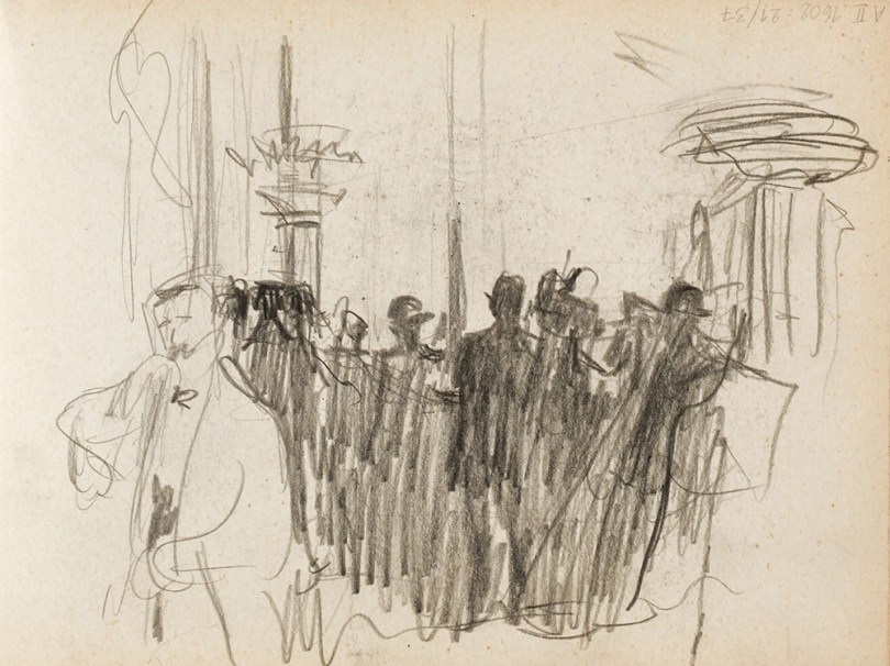 Magnus Enckell, a page from a sketch book, 1912, probably showing the Variety Theatre Bal Tabar in Paris, pencil on paper, Finnish National Gallery / Ateneum Art Museum Photo: Finnish National Gallery / Jenni Nurminen