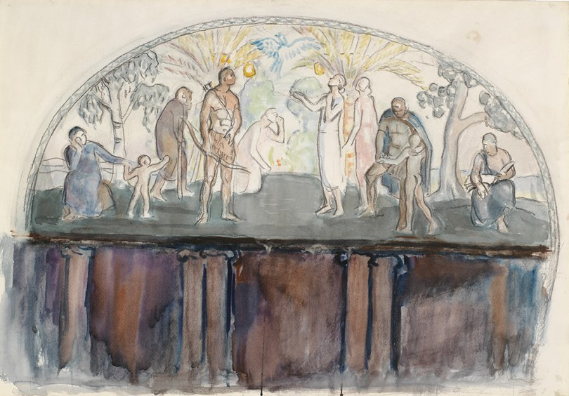 Magnus Enckell, sketch for Bird of Paradise, 1925, watercolour on paper, 47cm x 68cm. Antell Collections, Finnish National Gallery / Ateneum Art Museum Photo: Finnish National Gallery / Jenni Nurminen