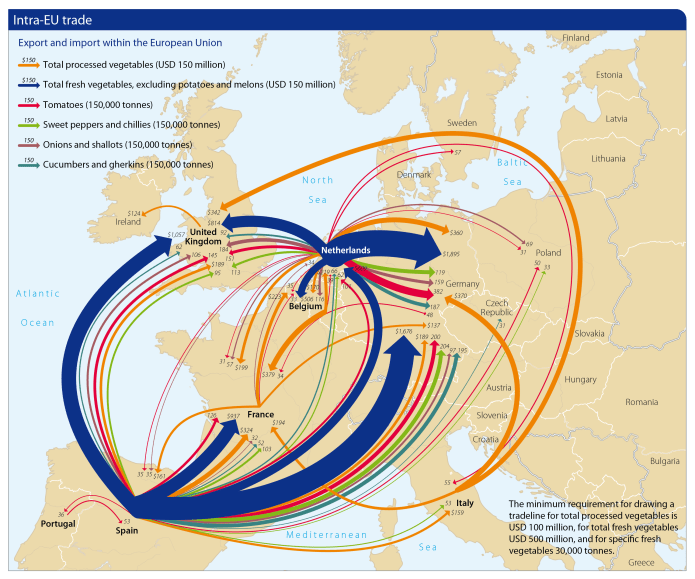 Map with vegetable trade flows in Europe