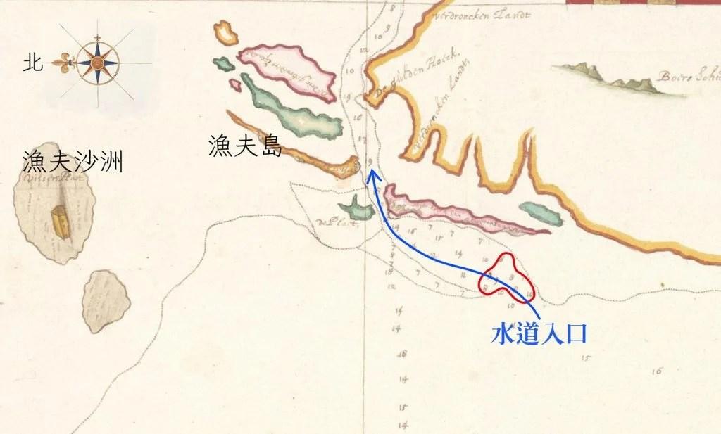 1633 年之前測繪的魍港海圖。藍線標示是可以航行的水道,此時水道入口處深度只有 7-8 呎(紅圈處),大型中式帆船不易出入,要小心翼翼地投測深錘前進。 圖片來源│River Matthaw (Pachang, northerly Taoyuan(部分), Johannes Vingboons, Atlas Blaeu, vol. 41:06, fol. 48-49.) 感謝奧地利國家圖書館(Österreichische Nationalbibliothek)授權使用。 圖說重製│林婷嫻、林洵安