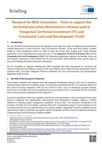 Tools to support the territorial and urban dimension in cohesion policy: Integrated Territorial Investment (ITI) and Community-Led Local Development (CLLD)