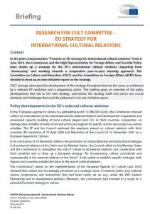 EU STRATEGY FOR INTERNATIONAL CULTURAL RELATIONS