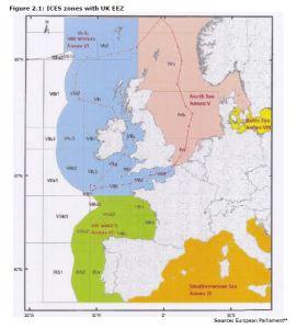 Figure 2.1: ICES zones with UK EEZ