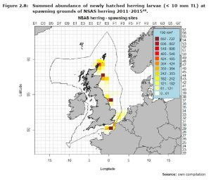 Figure 2.8: Summed abundance of newly hatched herring larvae (< 10 mm TL) at spawning grounds of NSAS herring 2011-2015.