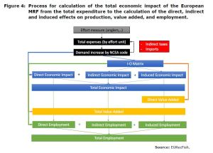 Figure 4: Process for calculation of the total economic impact of the European MRF from the total expenditure to the calculation of the direct, indirect and induced effects on production, value added, and employment.