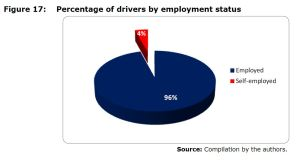 Figure 17: Percentage of drivers by employment status