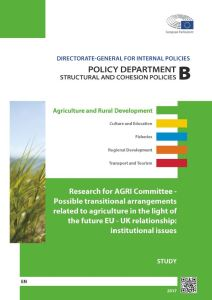 Possible transitional arrangements related to agriculture in the light of the future EU - UK relationship: institutional issues