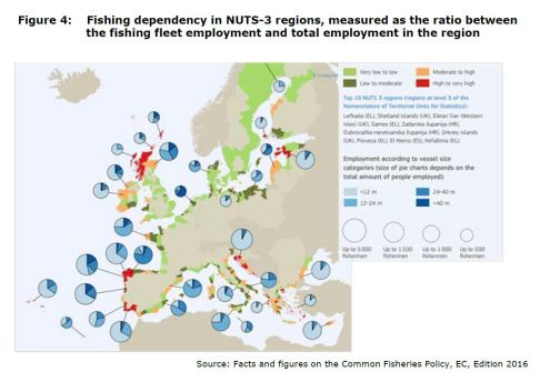 Figure 4: Fishing dependency in NUTS-3 regions, measured as the ratio between the fishing fleet employment and total employment in the region