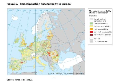 Figure 5. Soil compaction susceptibility in Europe